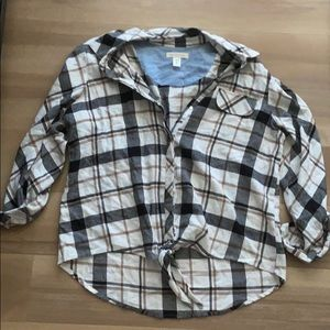 Button up Flannel with tie at the Bottom